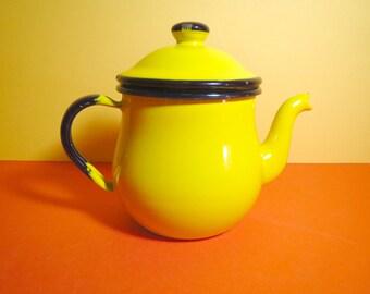 Vintage 1960s MID Century Modern Enamelware MOD Yellow Metal Japan Teapot Kettle Cup