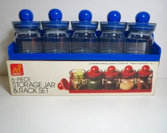 Vintage 1980s Retro NOS Plastic MOD Spice Jar Desk Storage Canisters Rack Set Blue