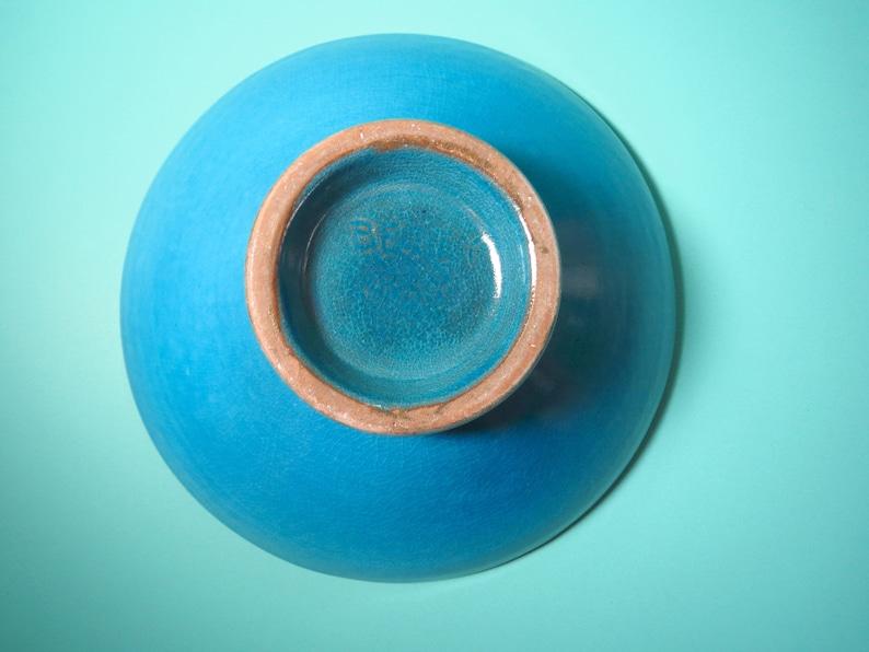 Vintage 1970s Art Pottery Blue Glaze Betty Ray Round Bowl Dish