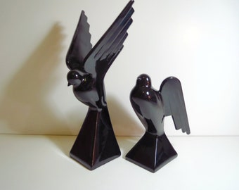Vintage 1970s Art Deco Modernist Pair Black Ceramic Fitz & Floyd Japan Bird Candle Holders Statues