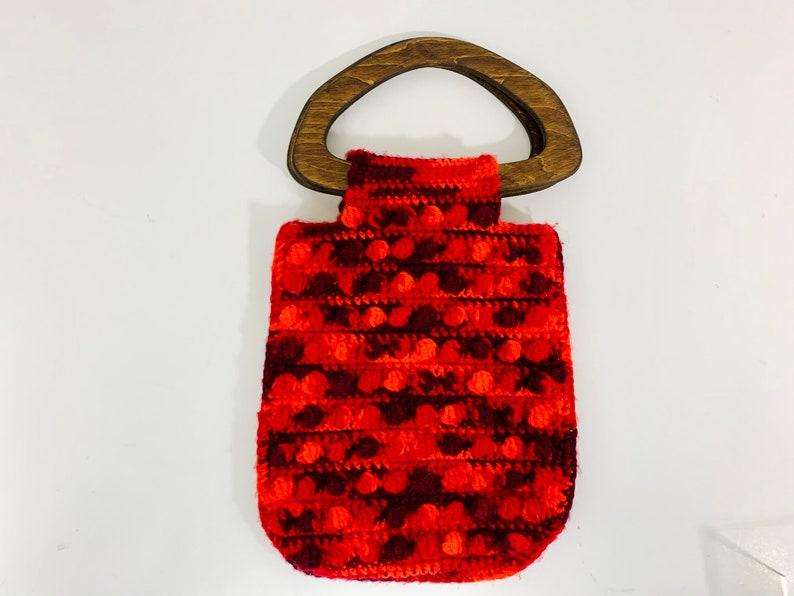 Vintage 1970s Retro Groovy Crochet Macrame Handmade Pom Pom Balls Hippie Purse Wood Handle Bag