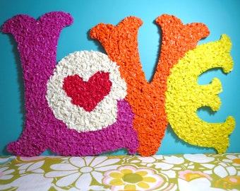 Vintage 1970s Retro Groovy MOD Plastic Melted Popcorn Wall Art Love L-O-V-E Typography Happy
