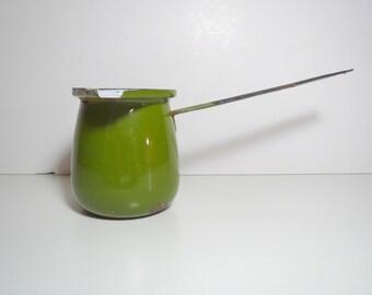 Vintage 1970s MID Century Modern Enamelware Green Pot Butter Milk Coffee Warmer