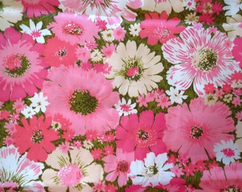 Vintage 1960s MID Century Retro Pink Daisy Flower Power MOD Window Drapes Fabric