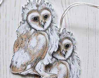 Baby Owl Tags, Owlet Swing Tags, Woodland Animal, Set of five gift tags, Woodland Gift Wrap
