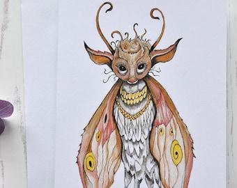 Master Moth, Fairy Greeting Card, Original Fairytale Art, Birthday Card, Children's Illustration, Recycled Card