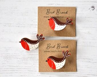 Robin Brooch - Wooden Bird - Wooden Brooch - Miniature Art - Handpainted Brooch - Birthday Present