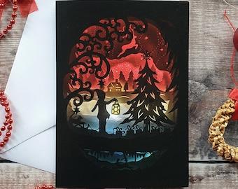 Christmas Night card, Winter Night, Printed Greeting Card, Christmas Cards, Yule Card, Winter Solstice
