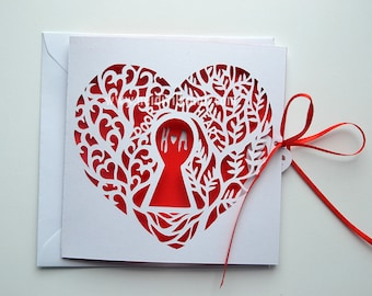 Heart shaped cards etsy heart shaped valentines card paper cut card romantic card custom valentines card romantic card m4hsunfo