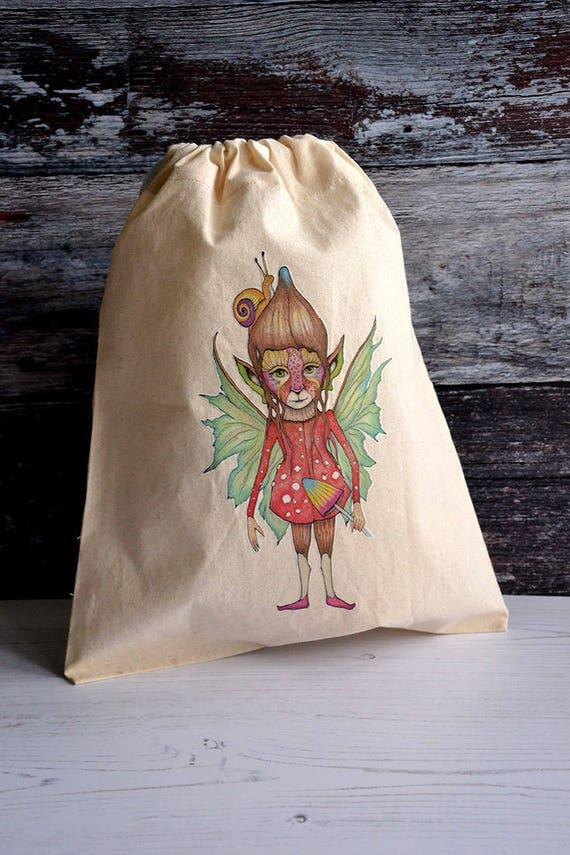 Faerie - cordon de serrage - coton-sac de conte de fées - éthique et réutilisable - école maternelle sac