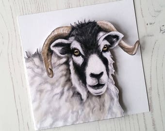 Sheep card - Paper cut Sheep - Swaledale Sheep - Easter Card - Illustrated Cut out Card
