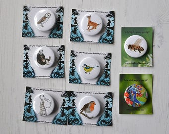 Woodland Badges - Pin Badges - Stocking Filler - Illustrated Badges- Choice of 8 designs