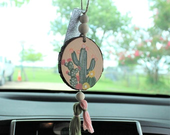 Cactus Car Charm - Essential Oil Car Diffuser - Wood Slice Hanger - Cactus Decor - Car Accessories - Inspirational Gift - Christian Gift