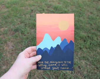 Hand painted Mountains - Handpainted Journal - From the rising sun to the setting same - Men's Gift - Men's Journal - Prayer Journal