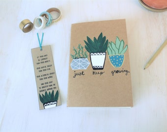 Succulent Journal - Hand painted succulents - Just Keep Growing - Encouragement Gift - Inspirational Gift - Customized Journal
