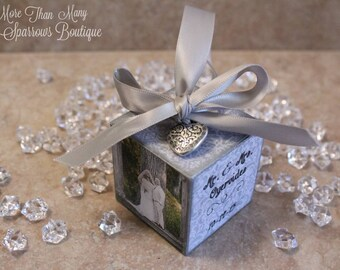 Custom Wedding Gift | Wedding or Anniversary Gift | Photo Cube Ornament | Personalized Wedding Keepsake | Silver Damask | Christmas Ornament