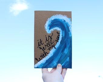It is Well with my Soul - Hand painted Journal - Ocean Journal - Unlined Notebook - Bible Journaling - Bible Art Journal - Ocean Wave