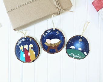 Nativity Wood Slice Ornaments - Hand Painted Christmas Ornaments Set - Adore, Rejoice, Savior - Wood Package Tags - Ornament Exchange