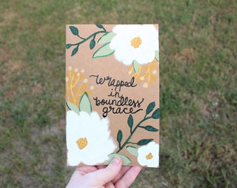 Handpainted Magnolia Journal - Floral Art Notebook - Bible Journaling - Wrapped in Boundless Grace - Magnolia Journal - Christian Gift