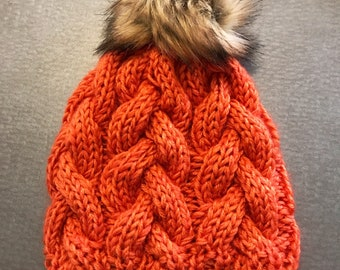 Orange hand knit hat, fur pom beanie
