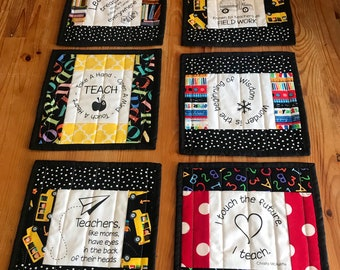 Teacher mug rugs, patchwork mug rugs