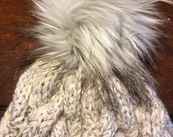 Cream knit hat, tweed knit hat, cable knit hat, fur pom beanie