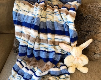 Hand knit baby blanket, striped baby blanket