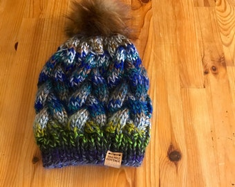 Hand knit hat, fur pom knit hat, women's hat