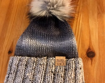 Hand knit hat, black and gray hat, tweed, fur pom beanie