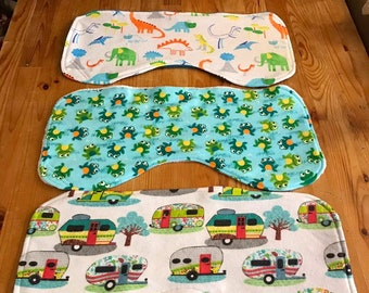 Burp cloths, camper burp cloth, frog burp cloth, dinosaur burp cloths