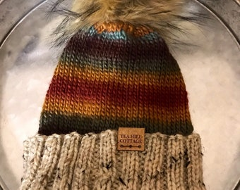 Striped knit hat, folded brim, fur pom beanie, tweed