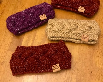 Girl's earwarmers, hand knit ear warmers, glittery ear warmers