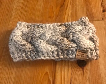 Ear warmer, hand knit ear warmer, cable knit