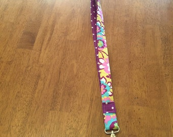 Floral lanyard, teacher lanyard, purple lanyard, modern print, teacher gift, back to school, workplace ID badge