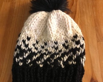 Hand knit hat, black and white knit hat, fur pom beanie