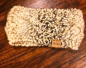 Hand knit earwarmer, knit headband, cable knit earwarmer