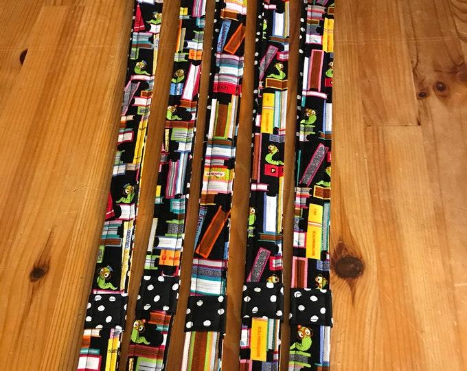 Featured listing image: Teacher lanyard, book lanyard, bookworm, librarian lanyard