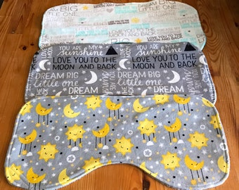 Baby burp cloth set, I love you to the moon