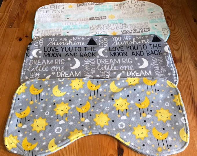 Featured listing image: Moon and stars burp cloth set, I love you to the moon