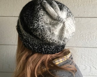 Hand knit hat, black and gray hat, slouchy hat, ombré hat