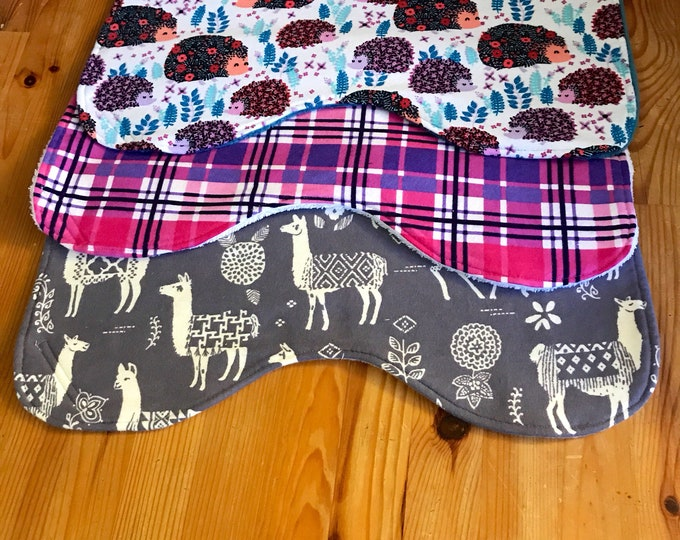 Featured listing image: Llama burp cloths, hedgehog burp cloths, baby gift, plaid burp cloths, baby girl, baby shower