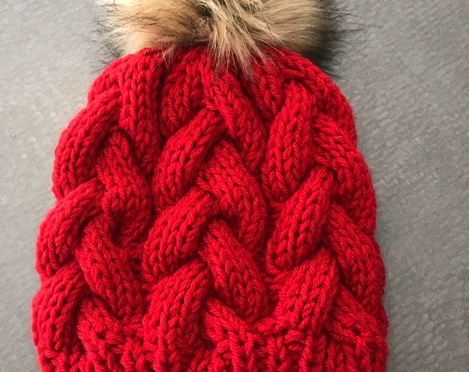 Featured listing image: Red knit hat, fur pom beanie, hand knit cable hat