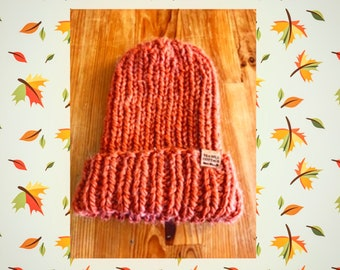 Orange knit hat, hand knit hat, unisex hat, ribbed beanie