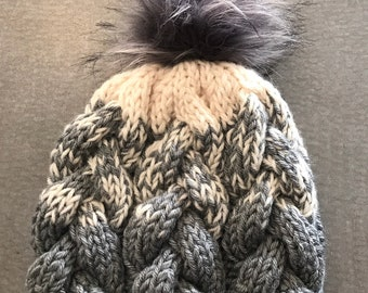 Hand knit hat, Gray knit hat, fur pom beanie