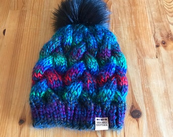 Hand knit hat, fur pom hat, colorful hat