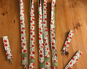 Floral lanyards, teacher lanyard, poppies
