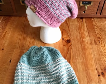 Hand knit hat, slouchy knit hat, striped knit hat