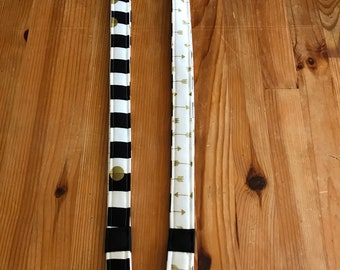Black and white teacher lanyard, gold arrow lanyard , stripe and polka dot lanyard, teacher lanyard