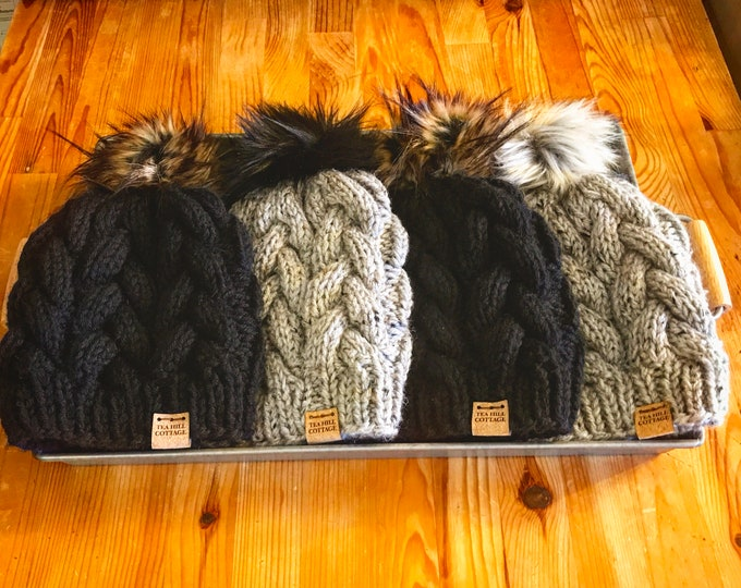 Featured listing image: Black knit hat, gray knit hat, fur pom beanie, cable knit hats, hand knit hat