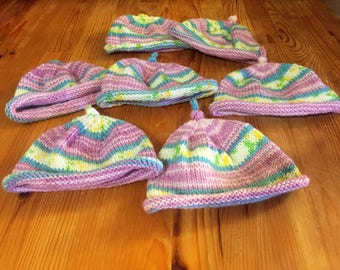 Knitted baby hat, striped baby hat, hand knit baby hat, pink striped hat